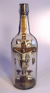 Beautiful Jesus with Halo on the Cross in a Bottle, Folk Art, Whimsy, Whimsey