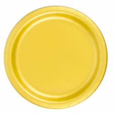 "24 Plates 6 7/8"" Paper Dessert Plates Wax Coated - Harvest Yellow"