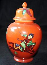 "Vintage SEYMOUR MANN Japan Porcelain c1642 PERSIAN HUNTER 6 1/2""h Vase Jar w Lid"