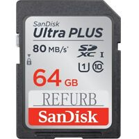 64GB SanDisk Ultra Plus SD Memory Card SDXC 80MB/S Class10 U1 UHS-I SDSDUNC-064G