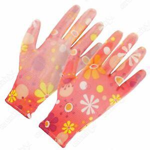 1x Pair Ladies Gardening Gloves,Red Floral DIY Work Safety Gloves, One Size