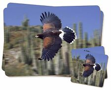 Flying Harris Hawk Bird of Prey Twin 2x Placemats+2x Coasters Set in Gi, AB-54PC