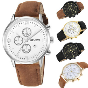 Mens SPORTS Quartz GENEVA Wrist WATCH Casual Brown Leather Black Silver Gold AUS
