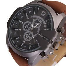 Men's Big Dial Leather Strap Black Sport Analog Quartz Army Wrist Watch gm