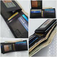 AG Wallets Mens Bifold Wallet CowHide Leather 2 ID Slim Card & Cash Holder Black