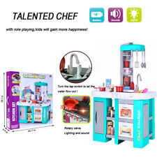 Pretend Cooking Playset Kids Kitchen Toys With Light Cabinet Cookware Play Set