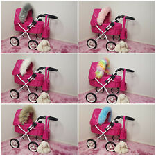 DOLLS Pram Luxury Faux Fur HOOD TRIM Baby Girls Pushchairs Prams Toys Play Doll