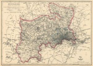 MIDDLESEX & LONDON PARISHES. Antique county map. Railways. BR DAVIES 1863