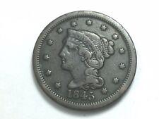 1845 Braided Hair Large Cent, N-4