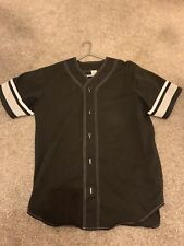 Supreme Baseball Jersey Top Shirt Button Up Box Logo Size Medium Black Deadstock