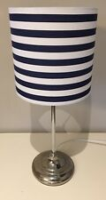 Navy And White Striped Lampshade, Handmade, Nautical, 20cm Ceiling Or Lamp