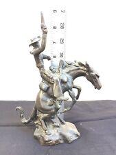 Bronze Sculpture Statue Cowboy Western Horse Art
