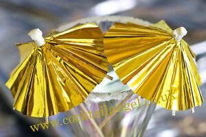 Gold Cocktail umbrellas,DRINK DECORATIONS  x 12