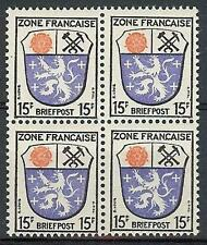 Germany 1945 Sc# 4N7 French zone Saarland 15pf block 4 MNH