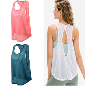 Women's Workout Tank Tops Running Mesh Sport Exercise Gym Yoga Loose Sports Vest