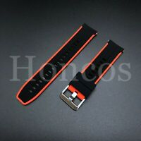 20MM RUBBER STRAP WATCH BAND FOR OMEGA SEAMASTER PLANET OCEAN CLASP BLACK RED