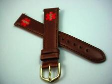 Flex-On Medical Alert Brown Leather Vintage Watch Band Mens 18mm Gold Tone Buckl