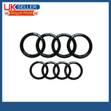 1 Set Black Gloss Front Rear Grille Badge Rings Logo Emblem For Audi A3 A4 A5 A6
