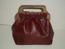 Vintage Etienne Aigner Leather Burgundy Handbag With Wooden Handles Nice