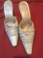 Womens Strappy High Stiletto Heels Mules Pointed Toe Bone Leather 8 1/2 M Jazz