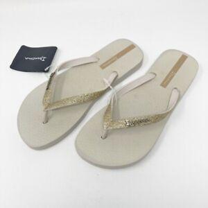 Ipanema Women`s Size 6 Flip Flops Glitter Gold Beige Sandals NWT