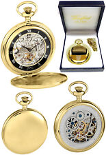 Woodford Full Hunter Pocket Watch Skeleton Back Gold Plated Free Engraving 1107