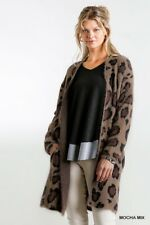 Umgee Animal Print Long Sleeve Fuzzy Long Open Front Sweater Cardigan Size Large