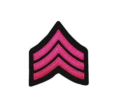 Military Rank Stripes Chevrons Pink Iron On Applique Patch FD