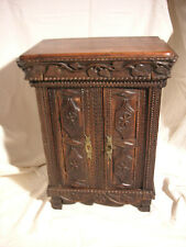 Antique miniature carved wood furniture – Wardrobe – Authentic French provincial