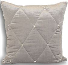 "DIAMANTE SILVER QUILTED PADDED THICK LARGE CUSHION COVER 18"" - 45CM"