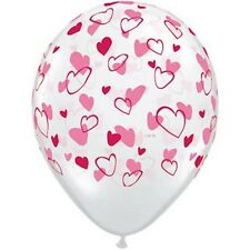 Party Supplies Wedding Birthday  Red & Pink Hearts Clear Balloons Pack of 10