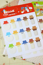 Little Hat Name Stickers cute cartoon planner diary journal page marker file tab