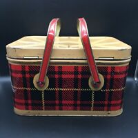 "VINTAGE NESCO METAL PICNIC BASKET RED BLACK PLAID 13.5"" x 9.5"" x 8"" RUSTIC CABIN"