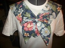 ladies handmade Fabric collar New Dress up your T-Shirt blue with flowers