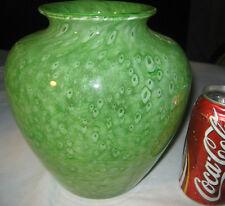 ANTIQUE STEUBEN APPLE GREEN # 2683 CLUTHRA ACID ETCHED FLOWER GLASS URN VASE