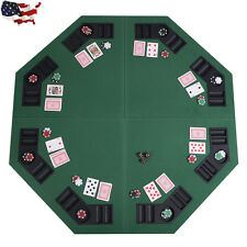 "Us 48"" Green Octagon 8 Player Four Fold Folding Poker Table Top & Carrying Case"