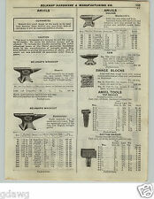 1922 PAPER AD 8 PG Blacksmith Anvil Tools Tongs Forge Champion Mohawk Blower