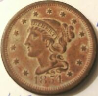 1854 Liberty Head Braided Hair Large Cent Awesome Condition AU+ Free Shipping