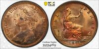 PCGS MS-64 RED-BN GREAT BRITAIN HALFPENNY 1/2 PENNY 1881 (DIE CLASH) LOTS OF RED