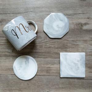 4x Ceramic Coaster Set Grey Marble Textured Natural Grey Pattern Handmade Gift