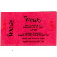 THE WHISKY A GO GO Blank Concert Ticket Stub WEST HOLLYWOOD ROCK PUNK METAL Rare