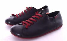 CAMPER PEU Womens Black Leather Red Laces Shoes flats Size 40 US 8.5