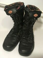 USED Palladium Women's Pampa Tactical Boots Black Side Zip US 7.5 Floral Lining