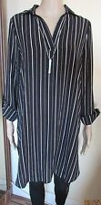 NWT BLACK/WHITE STRIPED LONG MATERNITY SHIRT SIZE 8 NEW LOOK