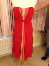 Coast Red & Pinks Bustier Dress 14 Silk Knee Length