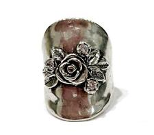 925 Sterling Silver Knuckle Ring w/ Rose Size 7 Made in Israel NEW