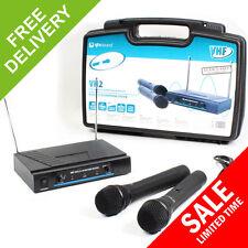 QTX Dual Handheld VHF Wireless Vocal Karaoke PA DJ Mic Microphone System + Case