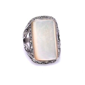 Large Mother of Pearl Rectangle & Marcasite Design All Sterling Silver Size # 6