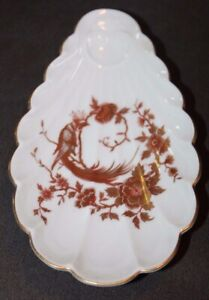 Vintage FANCY Soap Dish GOLD BIRD Porcelain