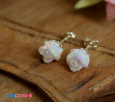 Carved Rose Flower White Opal Stud Post Sterling Silver Earrings Bridal Jewelry